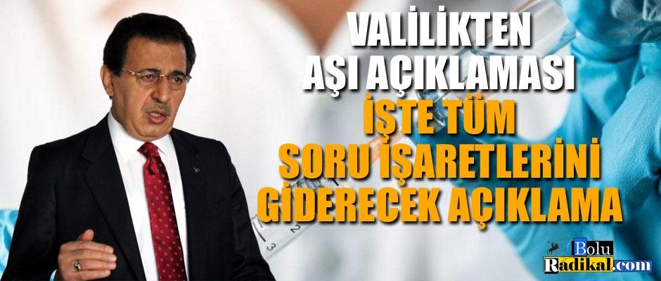 VALİ AHMET ÜMİT'TEN AŞI AÇIKLAMASI...