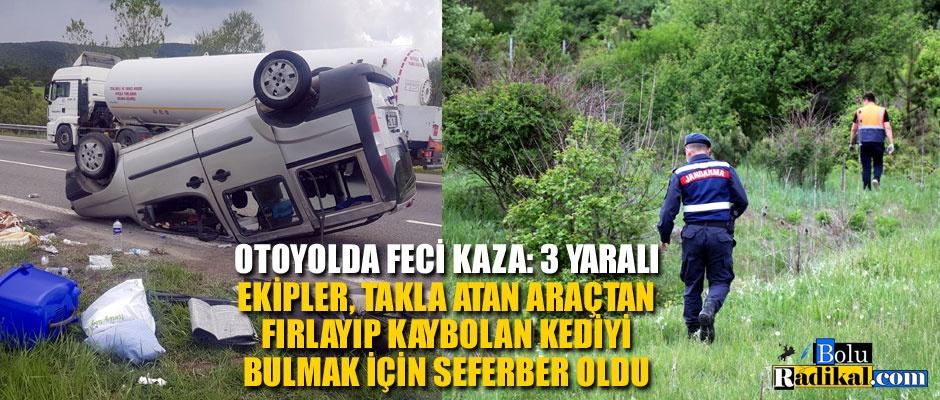 HAFİF TİCARİ ARAÇ TAKLA ATTI: 3 YARALI...