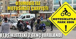 MOTOSİKLETTEKİ 2 KİŞİ YARALANDI...